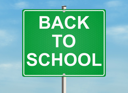 warning back: Back to school. Road sign on the sky background. Raster