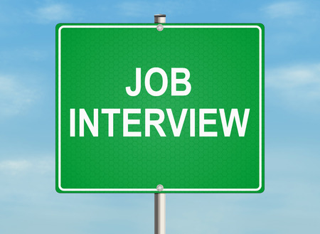 the applicant: Interview. Road sign on the sky background. Raster illustration. Stock Photo