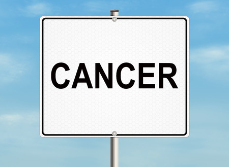 chemotherapy: Cancer. Road sign on the sky background. Raster illustration. Stock Photo