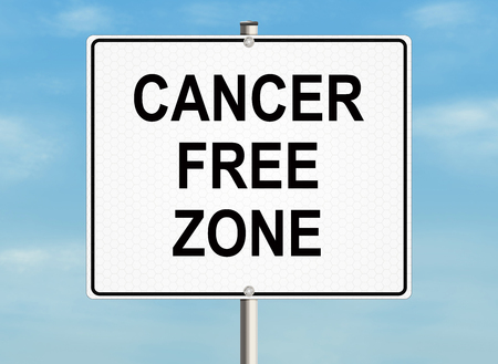 radiation therapy: Cancer. Road sign on the sky background. Raster illustration. Stock Photo