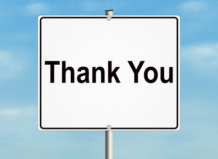 respond: Thank you. Road sign on the sky background. Raster illustration.