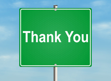 thankyou: Thank you. Road sign on the sky background. Raster illustration.