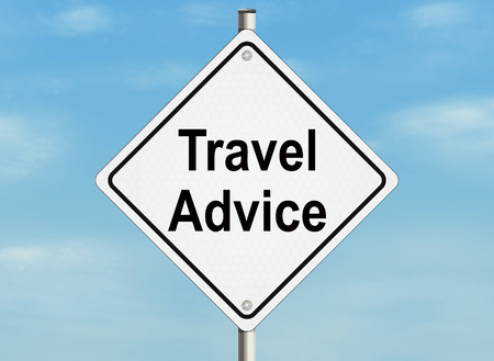 Travel advice. Road sign on the sky background.
