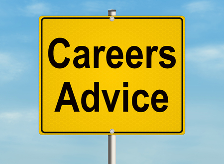 inform information: Careers advice. Road sign on the sky background.