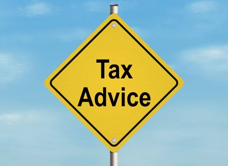 inform information: Tax advice. Road sign on the sky background.