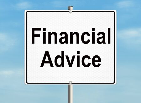 financial adviser: Financial advice. Road sign on the sky background.