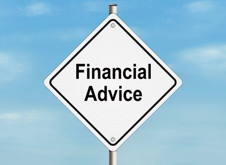 inform information: Financial advice. Road sign on the sky background.