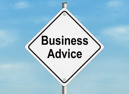 inform information: Business advice. Road sign on the sky background. Stock Photo