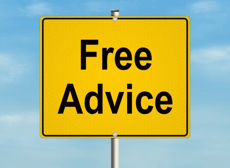 Free advice. Road sign on the sky background. Stock Photo