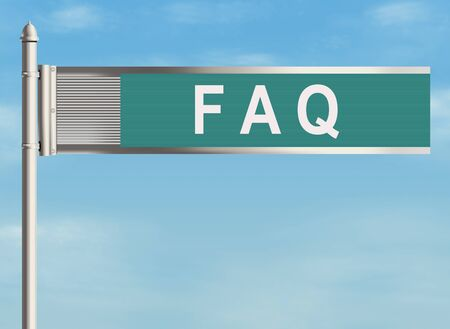 asked: Frequently Asked Questions. Road sign on the sky background. Raster illustration. Stock Photo
