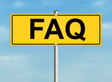 frequently: Frequently Asked Questions. Road sign on the sky background. Raster illustration. Stock Photo