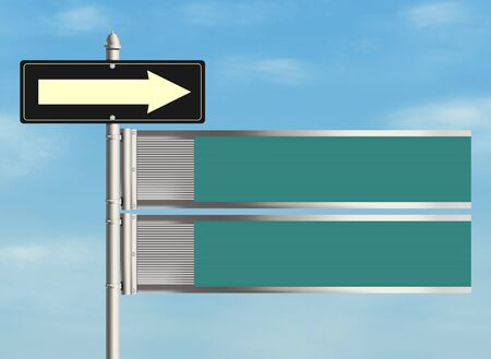blank road sign: Blank road sign on the sky background. Plenty of space for any text. Raster illustration. Stock Photo