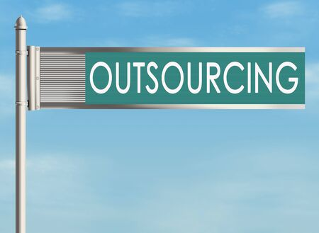 downsizing: Outsourcing. Road sign on the sky background. Raster illustration. Stock Photo