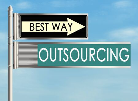contracting: Outsourcing. Road sign on the sky background. Raster illustration. Stock Photo
