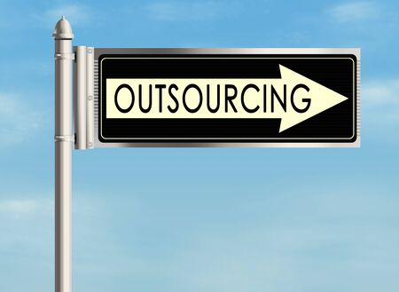 global work company: Outsourcing. Road sign on the sky background. Raster illustration. Stock Photo