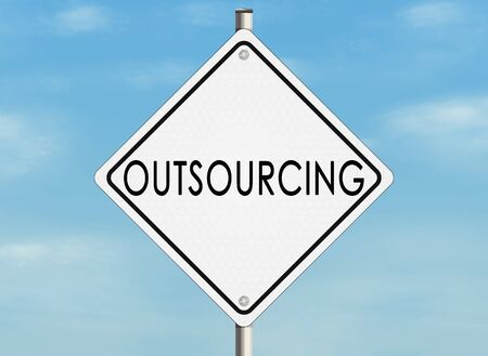 outsourcing: Outsourcing. Road sign on the sky background. Raster illustration. Stock Photo