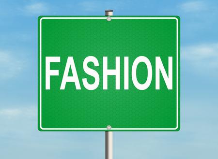 Fashion. Road sign on the sky background. Raster illustration.