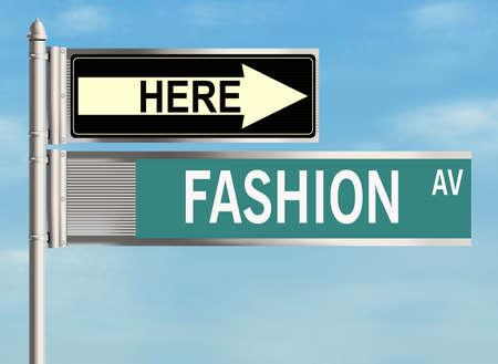 femine: Fashion. Road sign on the sky background. Raster illustration.