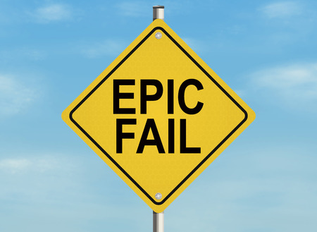 failed attempt: Fail. Road sign on the sky background. Raster illustration.