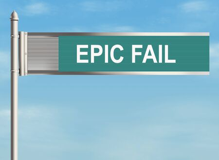 looser: Fail. Road sign on the sky background. Raster illustration.