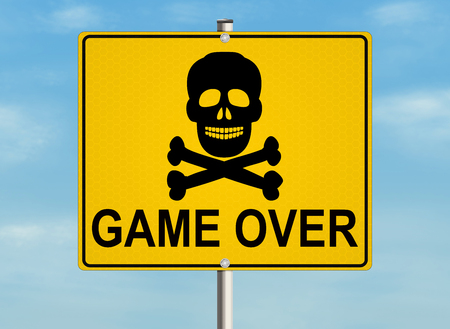 Game over. Road sign on the sky background. Raster illustration. Stock Photo