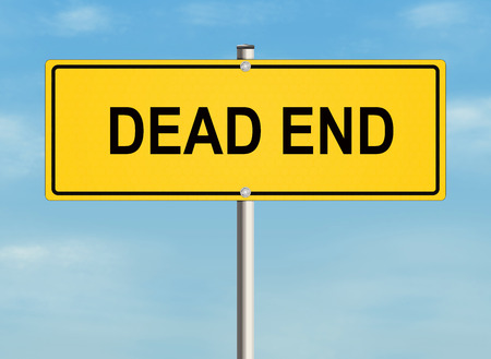 end of road: Dead end. Road sign on the sky background. Raster illustration.