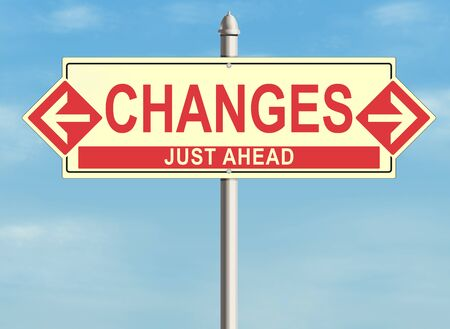 different ways: Road sign with the issue of changes on the sky background. Raster illustration.