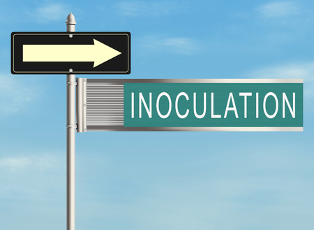 inoculation: Inoculation. Road sign on the sky background