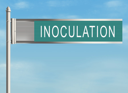 neutralizer: Inoculation. Road sign on the sky background