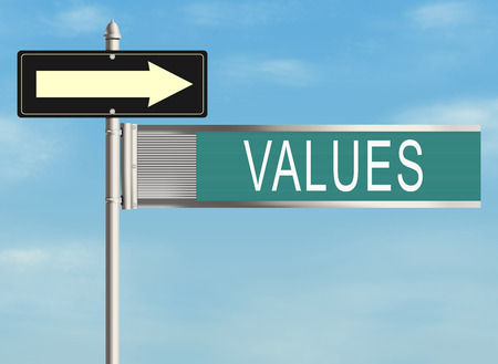 convince: Values. Road sign on the sky background Stock Photo