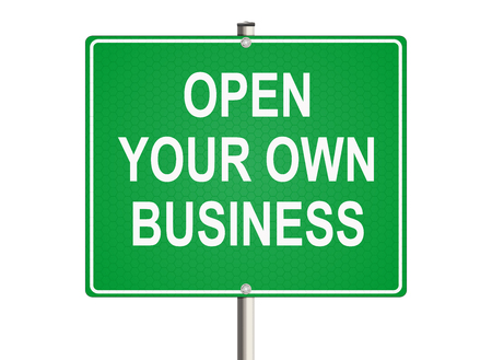 own: Own business. Road sign on the white background