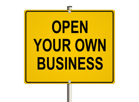Own business. Road sign on the white background