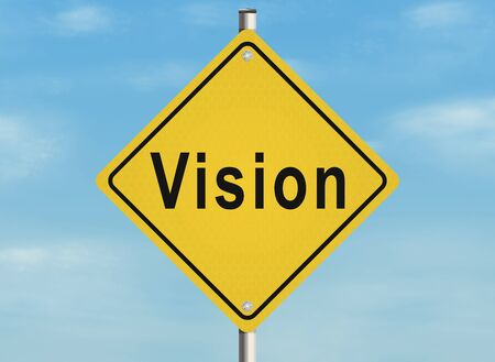 visionary: Vision. Road sign on the sky background