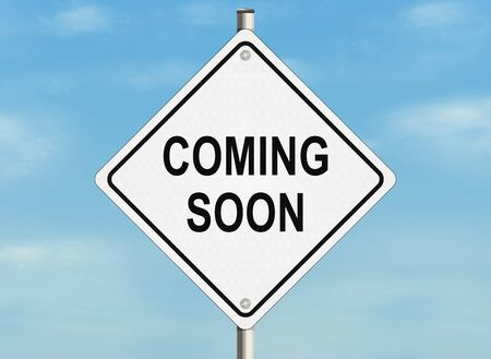 upcoming: Coming soon. Road sign on the sky background Stock Photo
