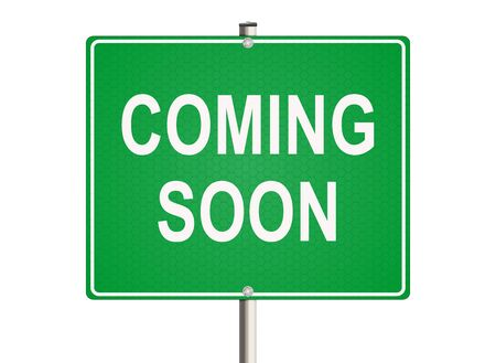 Coming soon. Road sign on the white background