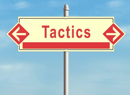 tactics: Tactics. Road sign on the sky background Stock Photo