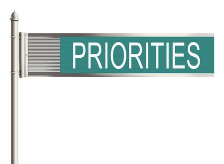 priorities: Priorities. Road sign on the white background Stock Photo