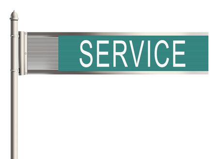 warrants: Service. Road sign on the white background. Raster illustration.