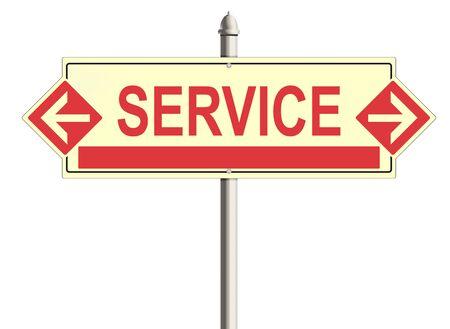 warrants: Service. Road sign on the white background. Raster illustration.