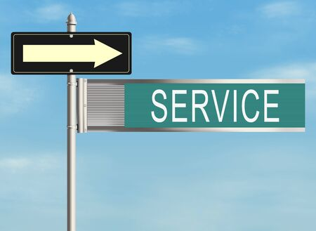 warrants: Service. Road sign on the sky background. Raster illustration.