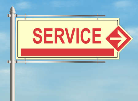 consumer society: Service. Road sign on the sky background. Raster illustration.
