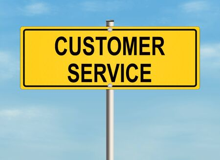 consumer society: Customer service. Road sign on the sky background. Raster illustration.