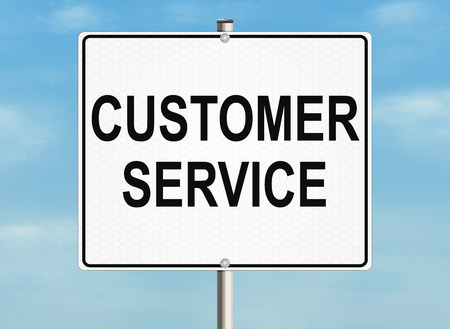 warrants: Customer service. Road sign on the sky background. Raster illustration.