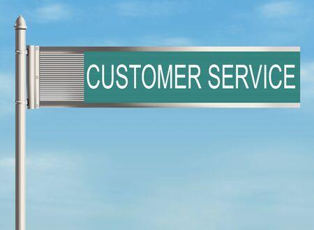 warrants: Customer service. Road sign on the sky background. Raster illustration.
