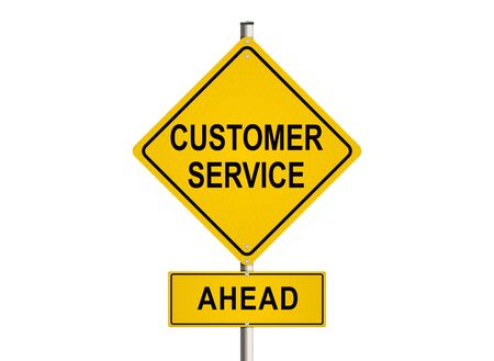 warrants: Customer service. Road sign on the white background. Raster illustration.