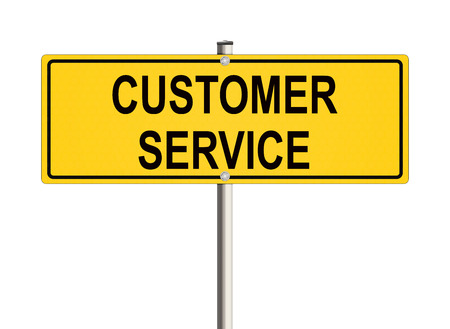 warrants: Customer service. Road sign on the white background. Raster illustration.