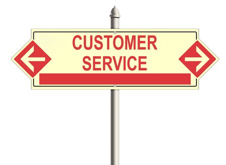 consumer society: Customer service. Road sign on the white background. Raster illustration.