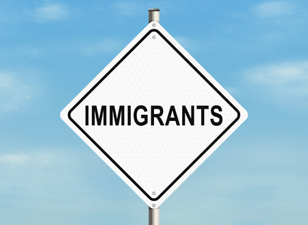naturalization: Immigrants. Road sign on the sky background. Raster illustration.