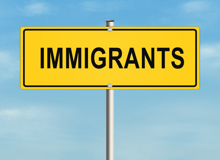 immigrants: Immigrants. Road sign on the sky background. Raster illustration.