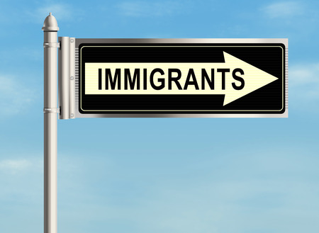 immigrate: Immigrants. Road sign on the sky background. Raster illustration.